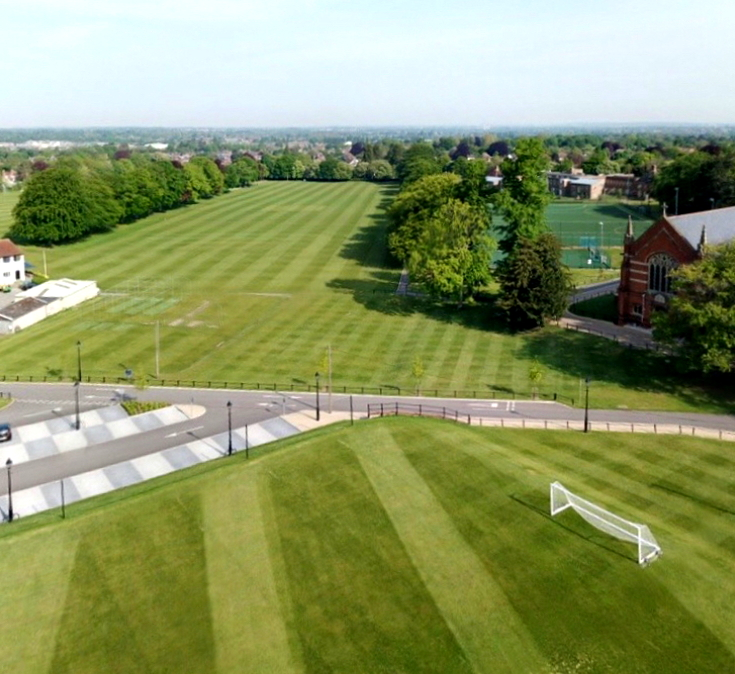 Aerial view of school grounds